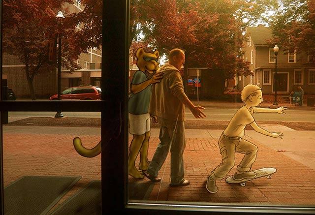 Three figures walking into an autumn sunset.