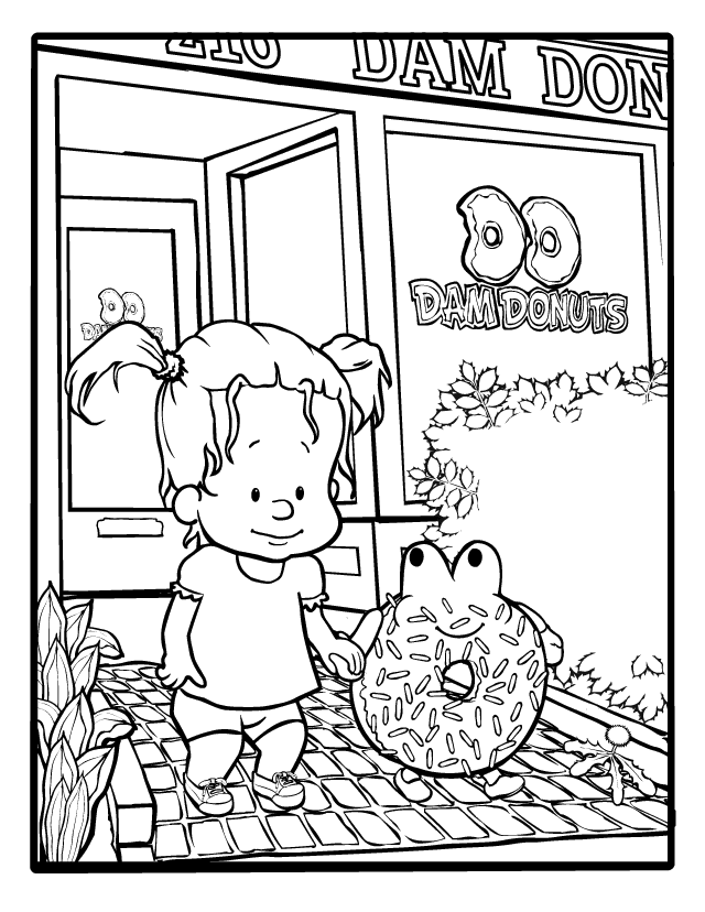 Black and white drawing of child leaving the local donut shop.