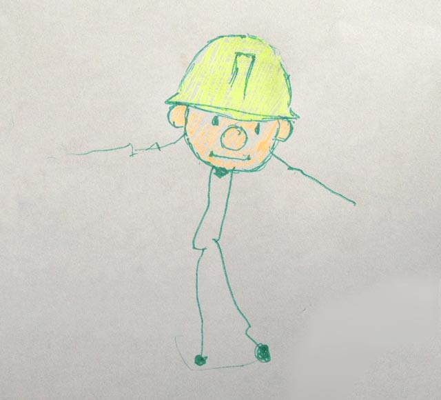 Line drawing of Bob the Builder done by me and my granddaughter.