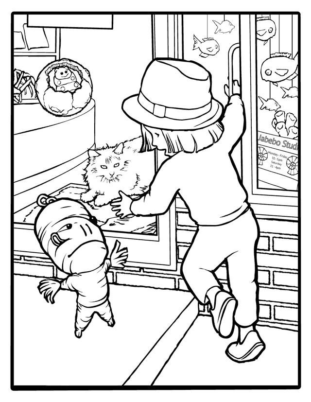 Black and white drawing of child reaching through a mail slot to pet a cat.