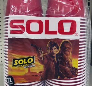 A photo like one published in a foodie blog, of red solo cups with movie tie-in.