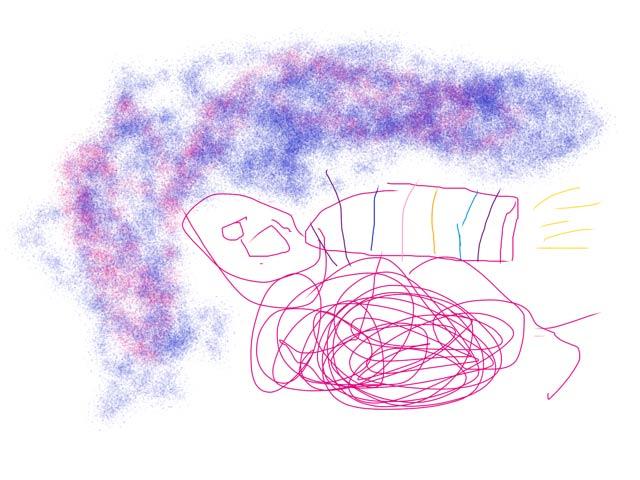 Digital drawing of a spaceship and dark sky.