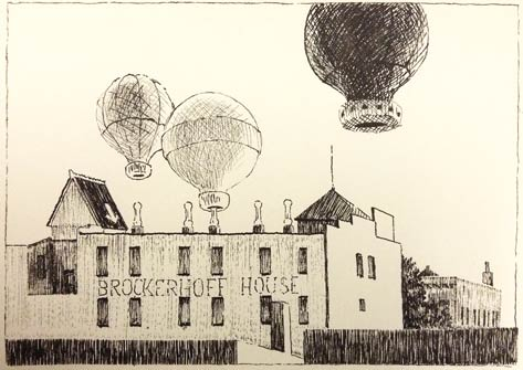 Pen and ink sketch of balloons over Bellefonte.