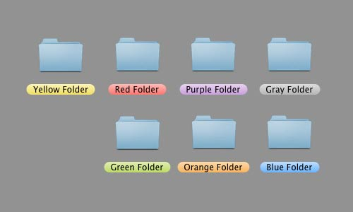 Seven folders with colored labels on a mac desktop.