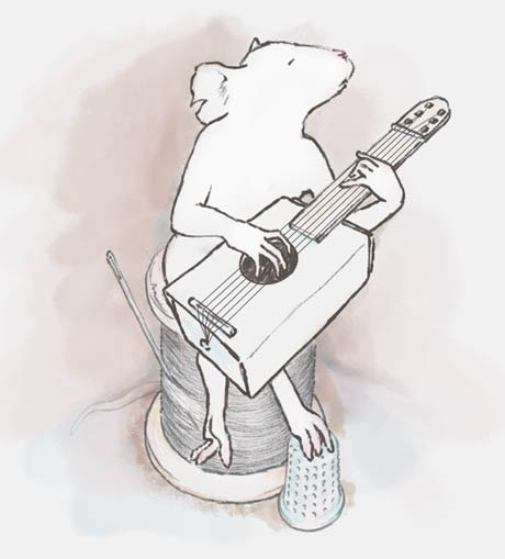 Mouse playing guitar.