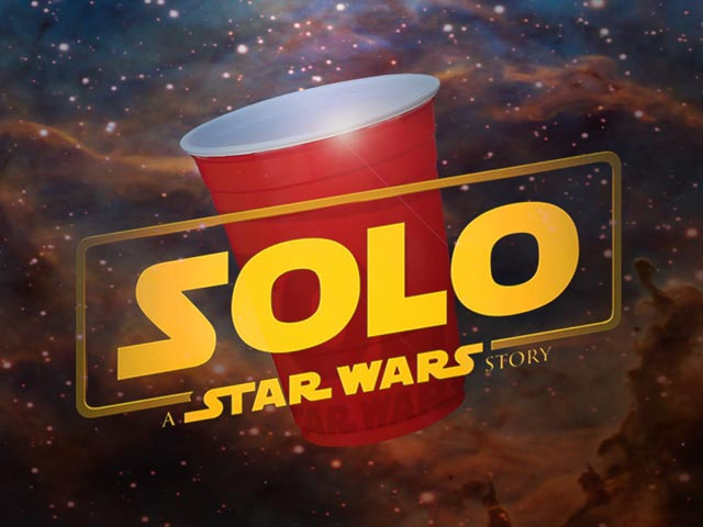Solo, a Star Wars Movie poster with a solo cup in space.