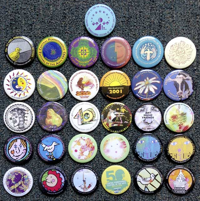Twenty seven years of ArtsFest buttons in one place..