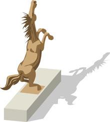 The iconic wild bronco statue.