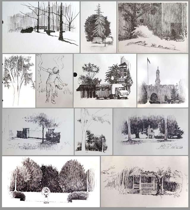 A dozen old sketches.