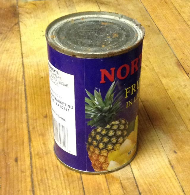 An old can of mixed fruit.