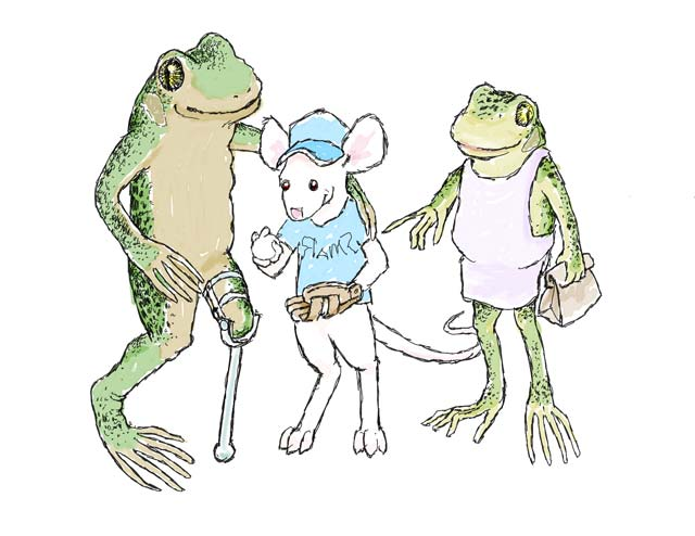 Dad and mom frog with their young son.