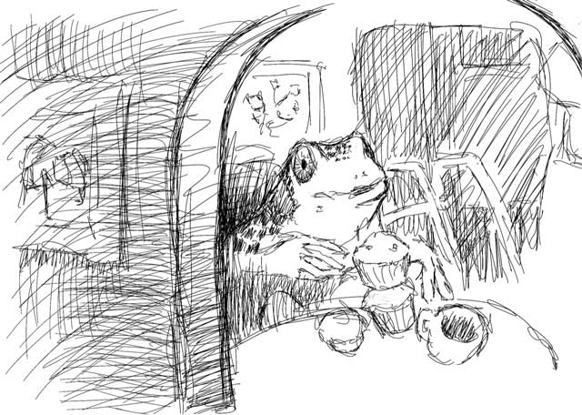 Inside the Ballplayer's home, with dad frog eating muffins.