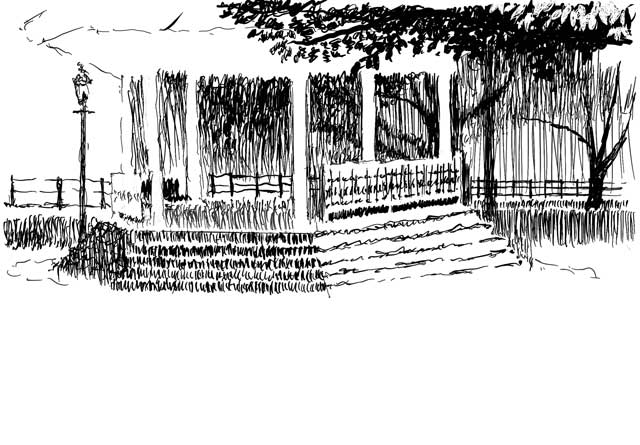 Pen and ink drawing of the gazebo at Talleyrand Park.