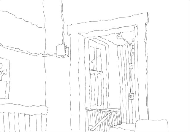 Loose line drawing of a corner in the Bush arcade laundry room.